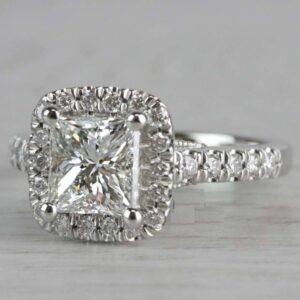 2.26 Ctw Princess Cut VVS1 Diamond Halo Classic Engagement Ring Solid 14k White Gold