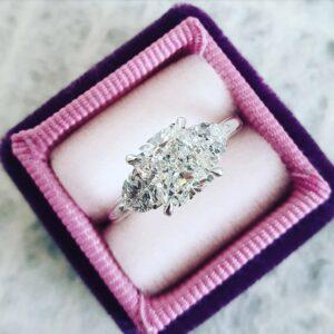 2.50 Carat Cushion Diamond Ring,3 Stone Diamond Engagement Ring,Real 14k White Gold