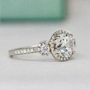 2.78 Ctw  Round Cut White Diamond 3-Stone Halo Wedding Engagement Ring 14k White Gold Over