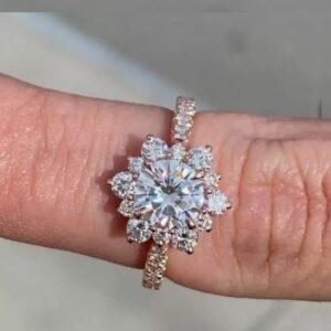 2.30 Ctw Round VVS1 Diamond Flower Halo Classic Wedding Engagement Ring 14k Yellow Gold Over