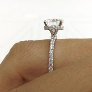 """Fancy 2.45 Ctw Brilliant Cut Diamond Solitaire With """"Hidden Halo"""" Engagement Ring Real 10K White Gold"""