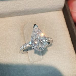 Forever 3.50 Ctw Pear White Diamond Solitaire With Accents Fancy Engagement Ring Solid 14k White Gold
