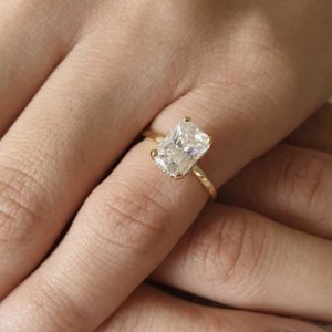 """Unique 2.25 Carat Radiant Cut White Diamond """"Hidden Halo""""Fancy Engagement Ring Real 14k Yellow Gold"""