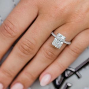 Gorgeous 3.00CT Radiant Solitaire Diamond Hidden Halo Beautiful Engagement Ring 14k White Gold