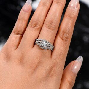 Infinity Engagement Ring Set, 2.63 Ctw Princess Cut Diamond Twist Wedding Ring Set 14k White Gold Over