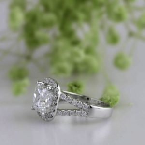 Unique 2.70 Ct Princess White Diamond Halo 2-Shank Best Engagement Ring 10k White Gold