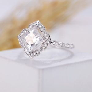 Art Deco Vintage 1.88 Carat Princess White Diamond Antique Halo Engagement Ring 14k White Gold Plated