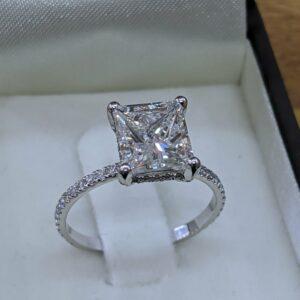 3.00Carat Princess Cut Solitaire Diamond Luxury Engagement Bridal Ring Real 14k White Gold