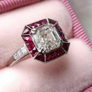 2.38 Ctw Asscher White Diamond Bezel Halo Art  Deco Engagement Ring 925 Sterling Silver
