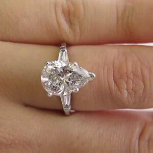3.44 Ctw Pear Shape Brilliant Diamond Side Baguette 3-Stone Engagement Ring Real 14k White Gold
