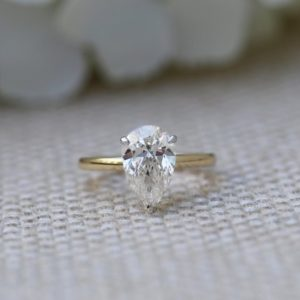 Fancy 3.00 carat Pear Shape Diamond Solitaire Engagement Ring 2-Tone Solid 14k Yellow Gold Ring