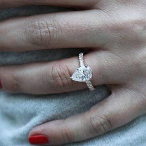 2.50 Ctw Pear Shape Solitaire Diamond With Accents Engagement Ring 14k Rose Gold Over