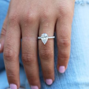 2.30 Ctw Solitaire Pear Shape Diamond With Accents Fancy Engagement Ring Real 925 Sterling Silver