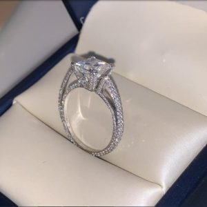 3.45 Ct Princess Cut White Diamond Micro Pave Classic Engagement Ring Solid 14k White Gold