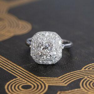 Art Deco 2.06 Ctw Cushion Cut Brilliant Diamond Halo Wedding Engagement Ring 14k White Gold Plated