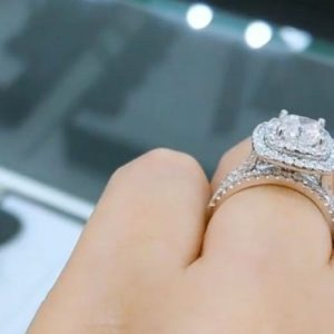 2.70 Ctw Cushion Cut White Diamond Engagement Ring Sets, 14k White Gold Ring, Double Halo 3-Pieces Bridal Sets