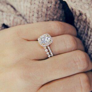 3.00Ctw Brilliant Cut Round Diamond Halo Engagement Ring Bridal Wedding Set Solid 14k Yellow Gold