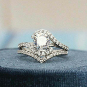 Unique 2.18 Ctw Round White Diamond Fancy Engagement Ring Curved Band 14k Gold Plated