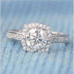 Vintage 2.56 Ctw Round White Diamond Halo Wedding Engagement Ring 14k White Gold