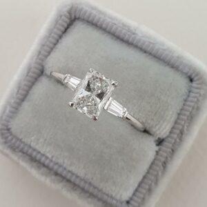 2.56 Carat Radiant Cut White Diamond Side Baguette 3-Stone Engagement Ring 14k White Gold