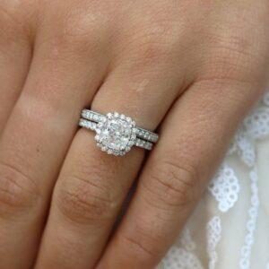 Classic 2.72 Ctw White Cushion Cut Diamond Luxury Bridal Set Engagement Ring 14k White Gold