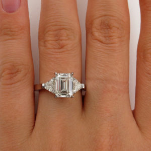 Forever 2.88 Carat Emerald Cut & Side Trillion 3-Stone Engagement Ring 14k White Gold