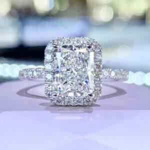 Fancy 3.00 Carat Radiant White Diamond Classic Halo Engagement Ring 14k White Gold Plated