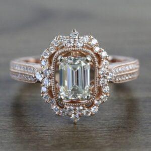 2.11 Carat Antique Halo Emerald Cut Brilliant Diamond Engagement Ring 14k Rose Gold Over