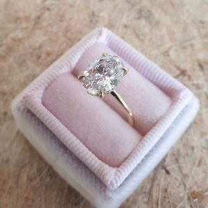 """3.47 Ctw Excellent Oval Cut Solitaire Diamond """"'Hidden Halo"""" Engagement Ring 14K Yellow Gold"""