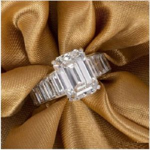 Classic  2.62 Ctw  Emerald White Diamond Channel Set Engagement Ring Solid 14k White Gold