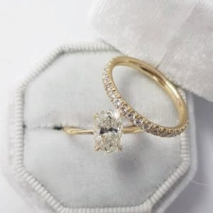 2.60 Ctw Oval Cut VVS1 Diamond Solitaire Engagement Ring Wedding Band Solid 14k Yellow Gold