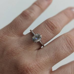 Fancy Engagement Ring, 1.50 Carat Oval Cut White Diamond Ring 14k White Gold Plated