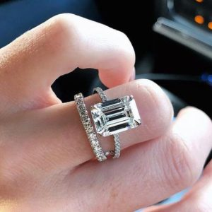 Forever 3.71 Ctw Emerald Cut Diamond Solitaire Engagement Ring Set 10k White Gold
