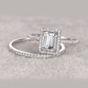 2.67 Ctw Emerald Cut White Diamond Halo Engagement Ring Bridal Set 14k White Gold Over