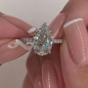 2.75 Carat Pear Shape Brilliant Diamond Solitaire Engagement Ring Real 925 Sterling Silver