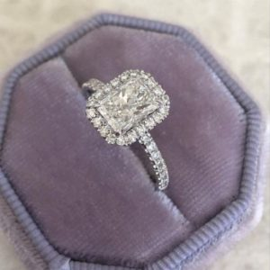 Classic 2.65 Ctw Radiant White Diamond Halo Best Engagement Ring Solid 14k White Gold