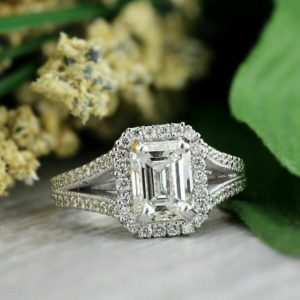 unique 2.72 Ctw Emerald Cut Diamond Halo 2-Shank Best Engagement Ring 925 Sterling Silver