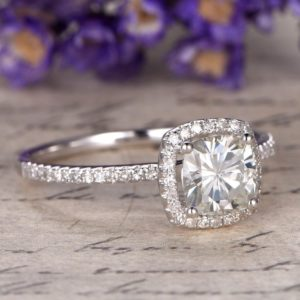 Classic 2.45 CT Cushion Cut Diamond Halo With Accents Engagement Ring 14k Gold Over