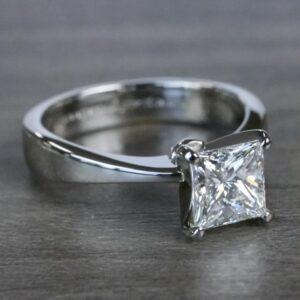 2.00 Carat Princess Cut Brilliant Diamond Classic Engagement Ring 14k Gold Plated