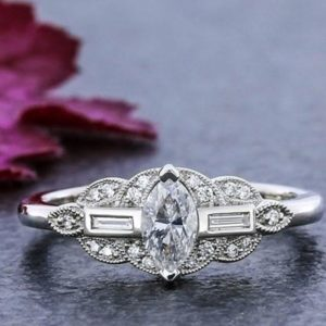 Art Deco 1.95 Ctw Marquise Cut Diamond Antique Engagement Ring 14k White Gold Over