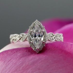Halo & Infinity Engagement Ring, 2.58 Ctw Marquise Cut VVS1 Diamond Ring Solid 14K White Gold