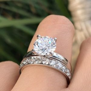 3.00 Ctw Excellent Cut Round Diamond Engagement Ring Wedding Band Real 14k White Gold
