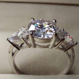 2.60 Center Round Cut & Side Pear Cut Diamond 3-Stone Engagement Ring 14k Gold Plated