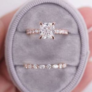 2.26 Ctw Cushion Cut White Diamond Solitaire Engagement Ring Wedding Set Solid 14k Rose Gold