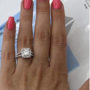 2.60 Ctw Princess Cut White Diamond Split-Shank Wedding Engagement Ring Real 14k White Gold