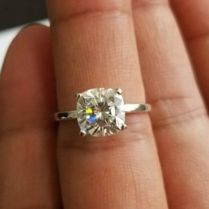 3.00 Carat Cushion Cut Brilliant Diamond Solitaire Engagement Ring 14k White Gold Ring