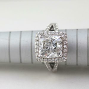 Halo With Split Shank Engagement Ring, 2.68 Ctw Cushion Cut White Diamond Ring Solid 14k White Gold