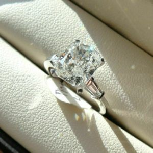 3-Stone Engagement Ring, 3.78 Ctw Solitaire Cushion Cut Diamond Baguette Accents 14k Gold Plated Ring