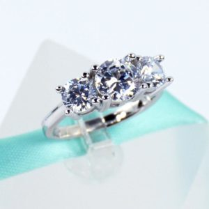2.55 Carat Three-Stone Round Cut Diamond Wedding Engagement Ring Solid 14k White Gold