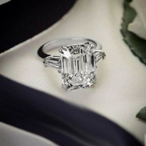 3-Stone Engagement Ring, 3.00 Ctw Emerald Cut Diamond Side Baguette Fancy Engagement Ring Real 925 Sterling Silver